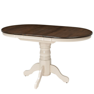 "CorLiving Dillon Extendable Wood Top Pedestal Dining Table with 12"" Butterfly Leaf"