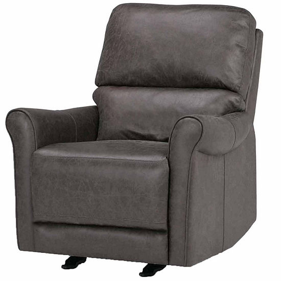 Garrison Faux Leather Recliner in Grey
