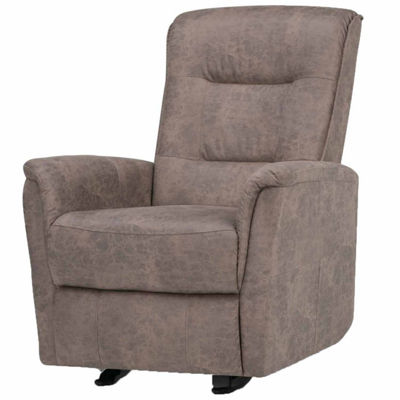 Percy Faux Leather Recliner in Distressed Grey