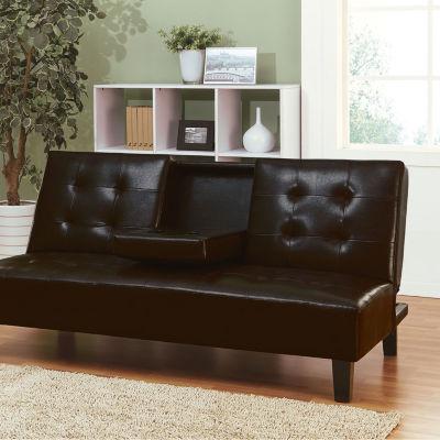 Barron Adjustable Sofa with Drop Back & Cup Holders Espresso PU