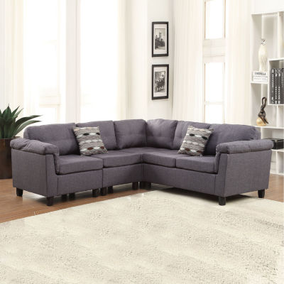 Cleavon Sectional Sofa with 2 Pillows Reversible Linen