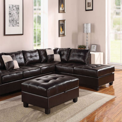 Kiva Sectional Sofa With 2 Pillows Reversible Bonded Leather Match