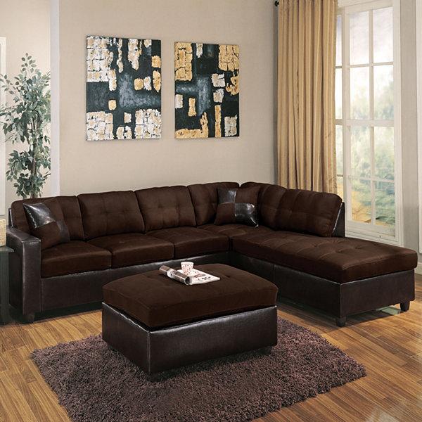 Superior Milano Sectional Sofa With 2 Pillows Reversible Easy Rider U0026 Espresso PU