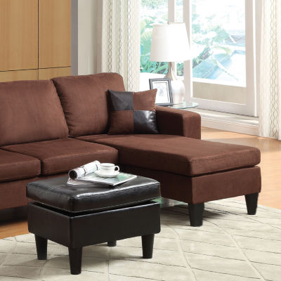 Robyn Microfiber Sectional Sofa Reversible Chaisewith Ottoman & 2 Pillows