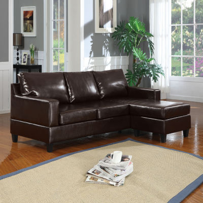 Vogue Sectional Sofa Reversible Chaise Espresso Bonded Leather