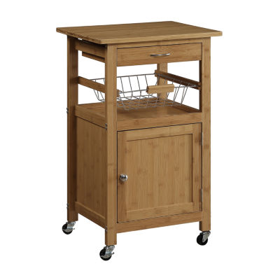 Neu Home Bamboo Kitchen Cart with Basket