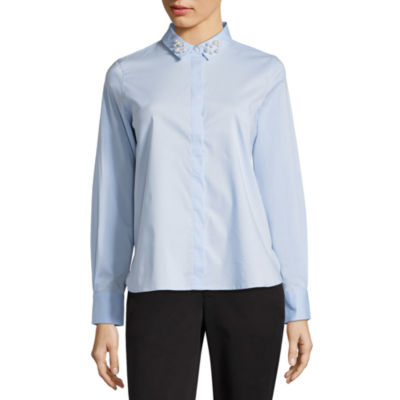Liz Claiborne Pearl Collar Button-Front Shirt