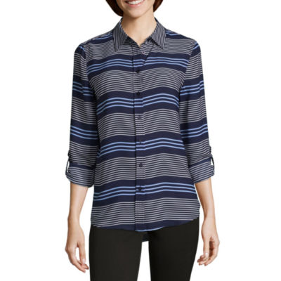 Como Blu Long Sleeve Roll Tab Stripe Blouse