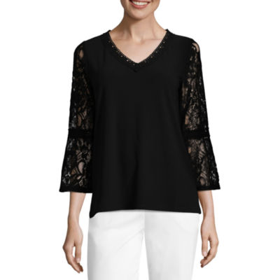 89th & Madison 3/4 Sleeve Lace Bell Sleeve Peasant Top