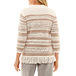 Alfred Dunner Eskimo Kiss Womens Ombre Layered Sweaters