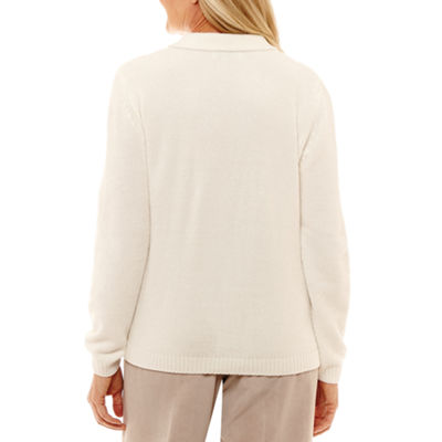 Alfred Dunner Eskimo Kiss Womens Long Sleeve Cardigan
