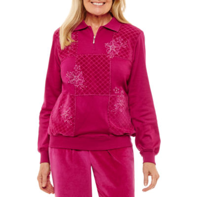 Alfred Dunner Royal Jewels 1/4 Zip Velour Sweatshirt