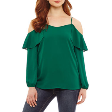 Bold Elements Ruffle Cold Shoulder Top