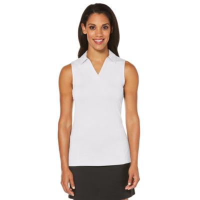 PGA TOUR Womens Y Neck Sleeveless Polo Shirt