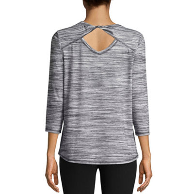 St. John's Bay Active 3/4 Sleeve Crew Neck T-Shirt-Womens