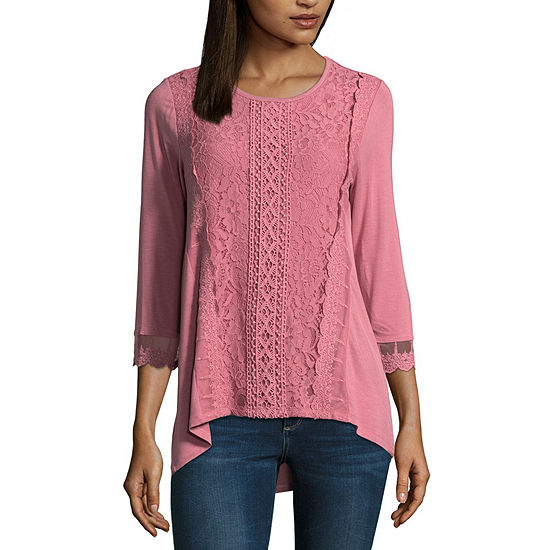 f271311e52a88 89th   Madison 3 4 Sleeve Lace Front T Shirt Womens JCPenney