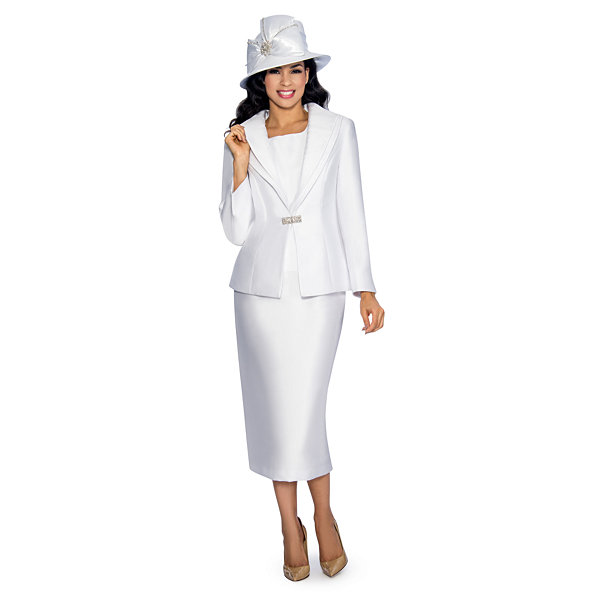 Giovanna Collection Women's Stripe and Solid Layered Collar 3-Piece Skirt Suit