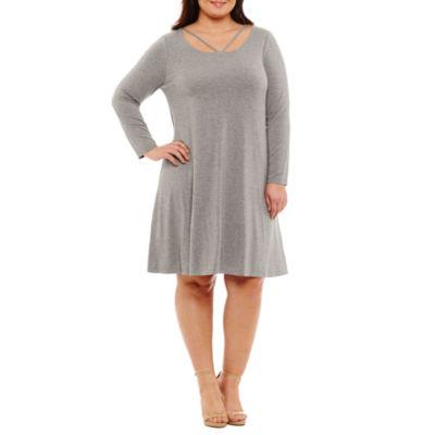 Boutique + Long Sleeve Trapeze Dress-Plus