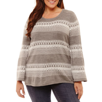 By Artisan Long Sleeve Crew Neck Stripe Pullover Sweater-Plus