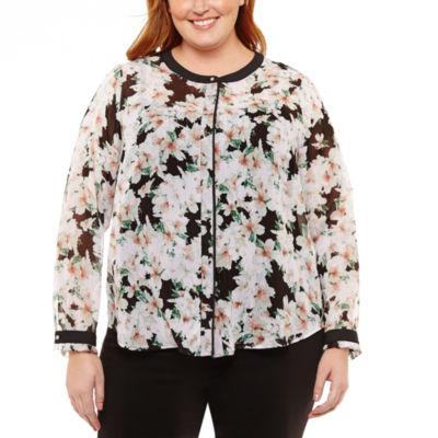 Liz Claiborne Long Sleeve Button Front Blouse- Plus