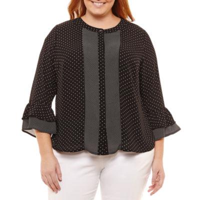 Liz Claiborne Bell Sleeve Button Dots Blouse- Plus