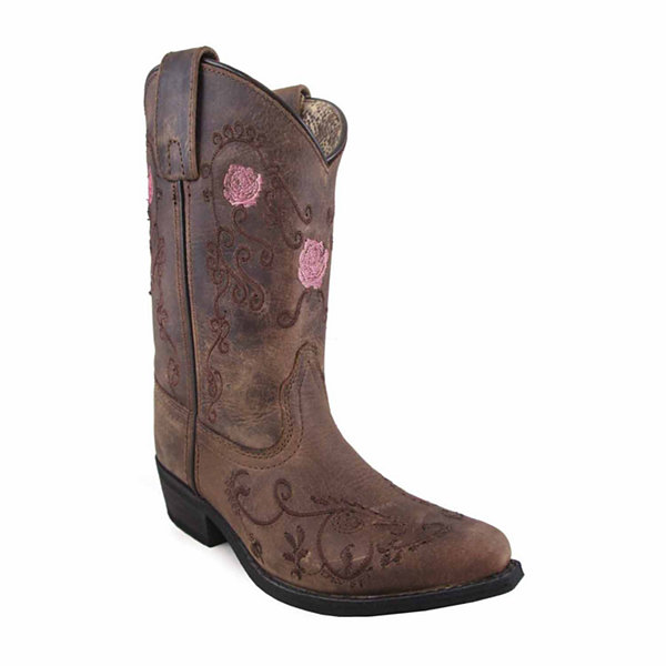 Smoky Mountain Girl's Rosette Oil Distres Leather Cowboy Boot
