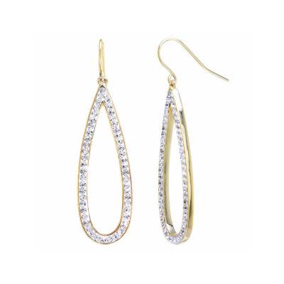 Sparkle Allure Clear Crystal Gold Over Brass Open Teardrop Drop Earrings