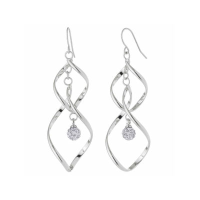 Sparkle Allure Clear Crustal Ball Twist Silver Over Brass Drop Earrings