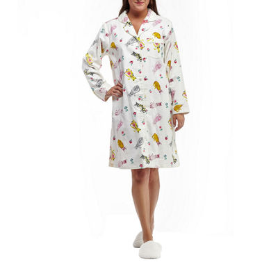 La Cera Plus Size Novelty Print Button Front Flannel Nightshirt Plus