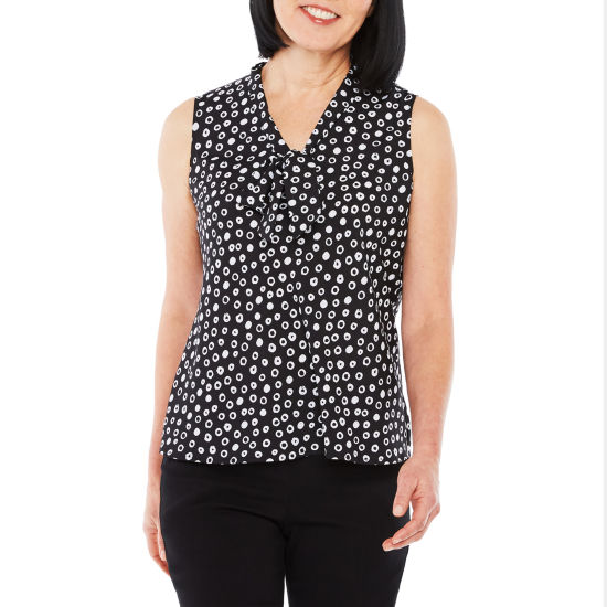 Black Label by Evan-Picone Sleeveless Dots Blouse