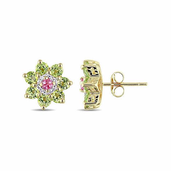 Laura Ashley Genuine Green Peridot 18K Gold Over Silver Flower Ear Pins