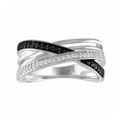 Womens Diamond Accent Color Enhanced Multi Color Diamond Sterling Silver Cocktail Ring