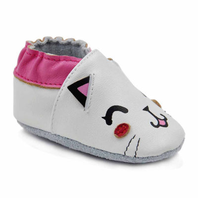 Soft Sole Leather Crib Bootie Baby Shoes - Cute Cat