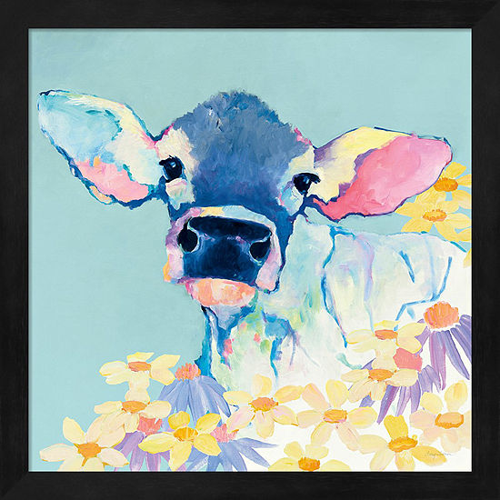 Metaverse Art Bessie with Flowers on Teal