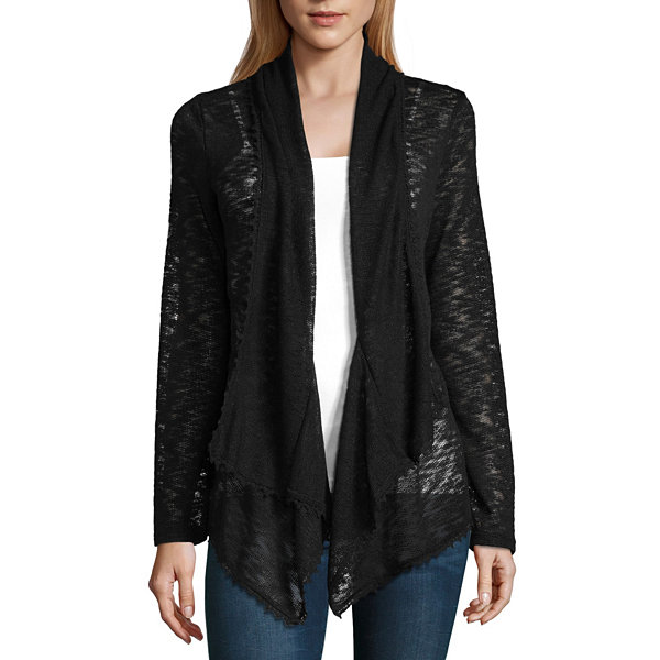 Almost Famous Long Sleeve Open Front Cardigan-Juniors
