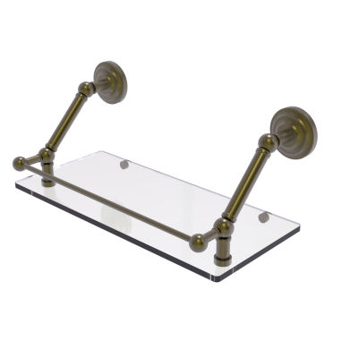 Allied Brass Prestige Que New 18 Inch Floating Glass Shelf with Gallery Rail