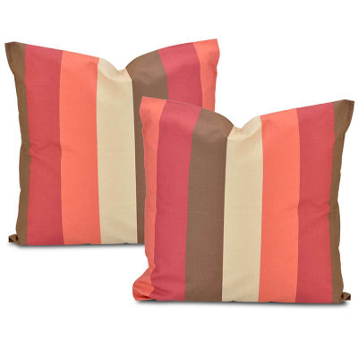 Exclusive Fabrics & Furnishing Picante Stripe Printed Cotton Throw Pillow Cover - Set of 2