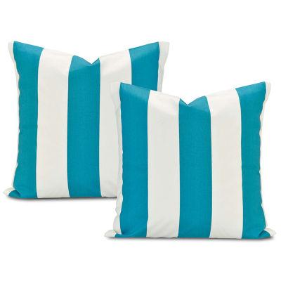 Exclusive Fabrics & Furnishing Cabana Teal Printed Cotton Throw Pillow Cover - Set of 2
