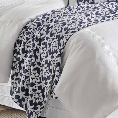 HiEnd Accents Kavali Navy & White Floral Jaquard Duvet