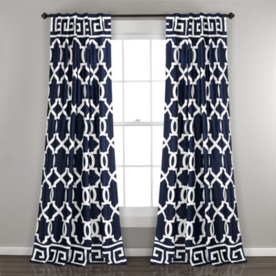 Half Moon Maze Border Room Darkening Window Curtain Panels Navy 52X84 Set