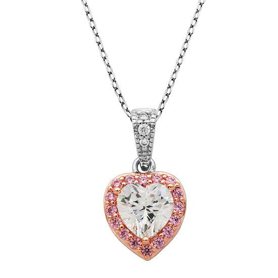 DiamonArt® Womens White Cubic Zirconia 14K Gold Over Silver Heart Pendant Necklace
