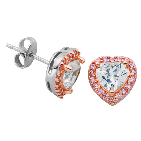 Diamonart White Cubic Zirconia 14K Gold Over Silver 9.9mm Heart Stud Earrings