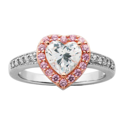 Diamonart Womens 2 3/4 CT. T.W. Lab Created White Cubic Zirconia 14K Rose Gold Over Silver Heart Cocktail Ring