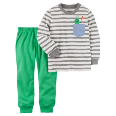 Carter's Stripe Top & Green Pant 2 Piece Set - Baby Boy NB-24M