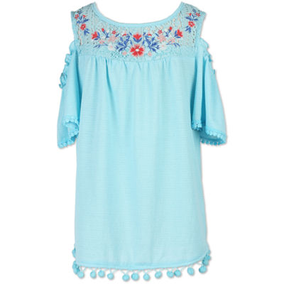 Speechless Embroidered Cold Shoulder Top - Girls' 7-16