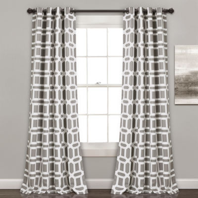 Half Moon Sequoia Geo Room Darkening Window Curtain Panels 52X84 Set