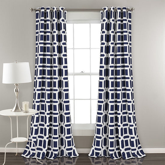 Half Moon Sequoia Geo Room Darkening Window Curtain Panels 52X84 Set