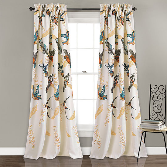 Half Moon Bird Breeze Room Darkening Window Curtain Multi Set 52X84 + 2 Inch Header