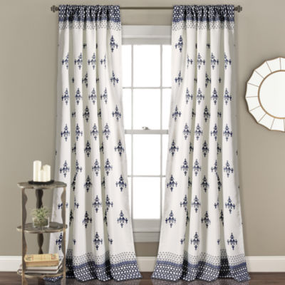 Half Moon Budapest Geo Room Darkening Window Curtain Navy Set 52X84