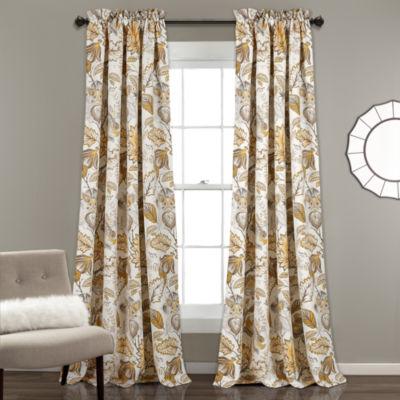 Half Moon Cynthia Jacobean Room Darkening Window Curtain Set 52X84 + 2 Inch Header